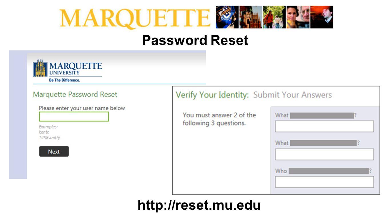 Password Reset http://reset.mu.edu