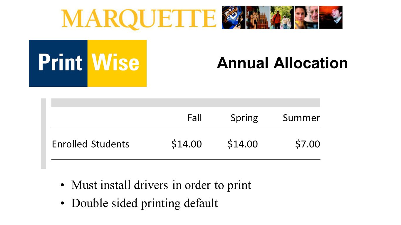 Annual Allocation Must install drivers in order to print Double sided printing default FallSpringSummer Enrolled Students$14.00 $7.00