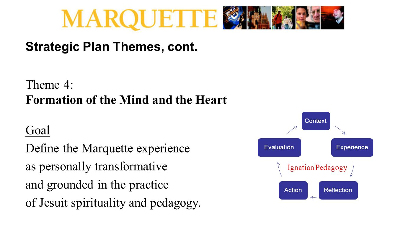 Strategic Plan Themes, cont. Theme 4: Formation of the Mind and the Heart Goal Define the Marquette experience as personally transformative and ground