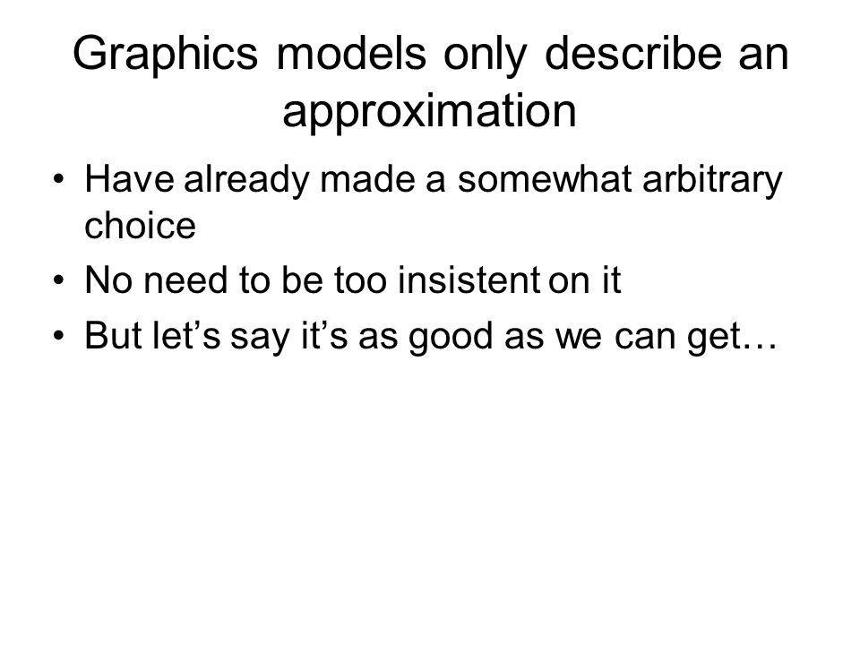 Graphics models only describe an approximation Have already made a somewhat arbitrary choice No need to be too insistent on it But lets say its as good as we can get…