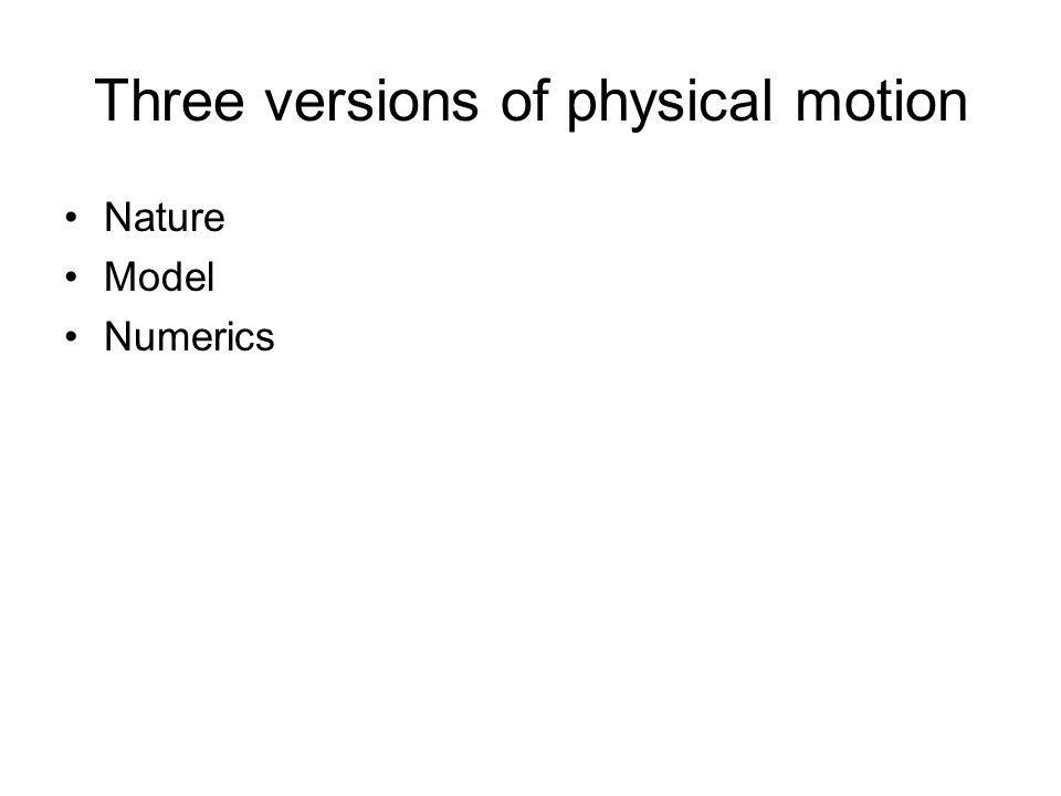 Three versions of physical motion Nature Model Numerics