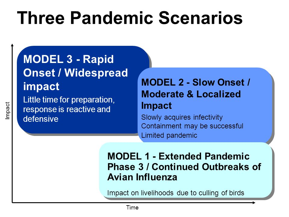 Three Pandemic Scenarios Time Impact MODEL 3 - Rapid Onset / Widespread impact Little time for preparation, response is reactive and defensive MODEL 2 - Slow Onset / Moderate & Localized Impact Slowly acquires infectivity Containment may be successful Limited pandemic MODEL 1 - Extended Pandemic Phase 3 / Continued Outbreaks of Avian Influenza Impact on livelihoods due to culling of birds