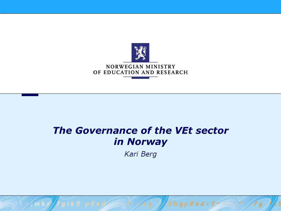 The Governance of the VEt sector in Norway Kari Berg