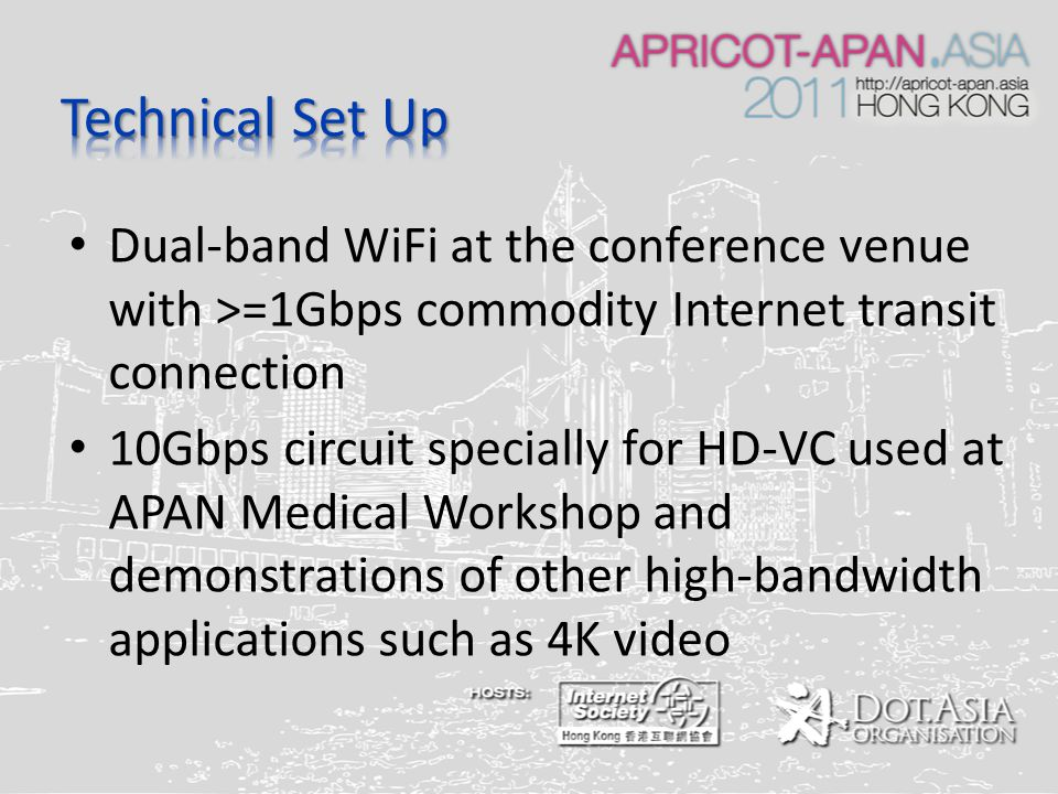Dual-band WiFi at the conference venue with >=1Gbps commodity Internet transit connection 10Gbps circuit specially for HD-VC used at APAN Medical Workshop and demonstrations of other high-bandwidth applications such as 4K video