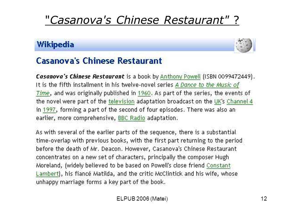 ELPUB 2006 (Matei)12 Casanova s Chinese Restaurant ?