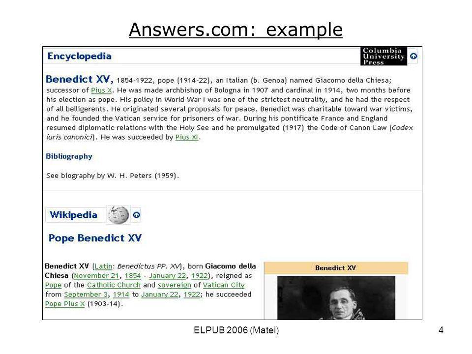 ELPUB 2006 (Matei)4 Answers.com: example