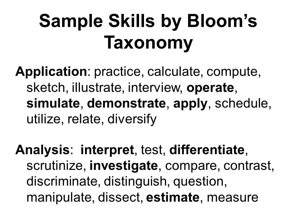 Sample Skills by Blooms Taxonomy Application: practice, calculate, compute, sketch, illustrate, interview, operate, simulate, demonstrate, apply, schedule, utilize, relate, diversify Analysis: interpret, test, differentiate, scrutinize, investigate, compare, contrast, discriminate, distinguish, question, manipulate, dissect, estimate, measure