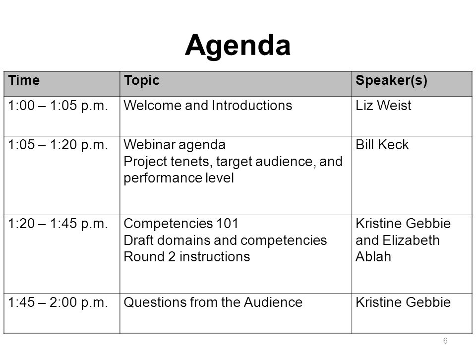Agenda 6 TimeTopicSpeaker(s) 1:00 – 1:05 p.m.Welcome and IntroductionsLiz Weist 1:05 – 1:20 p.m.Webinar agenda Project tenets, target audience, and performance level Bill Keck 1:20 – 1:45 p.m.Competencies 101 Draft domains and competencies Round 2 instructions Kristine Gebbie and Elizabeth Ablah 1:45 – 2:00 p.m.Questions from the AudienceKristine Gebbie