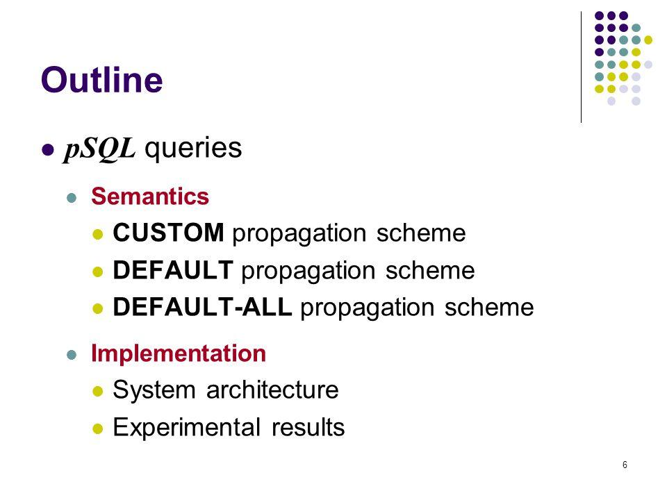 6 Outline pSQL queries Semantics CUSTOM propagation scheme DEFAULT propagation scheme DEFAULT-ALL propagation scheme Implementation System architectur