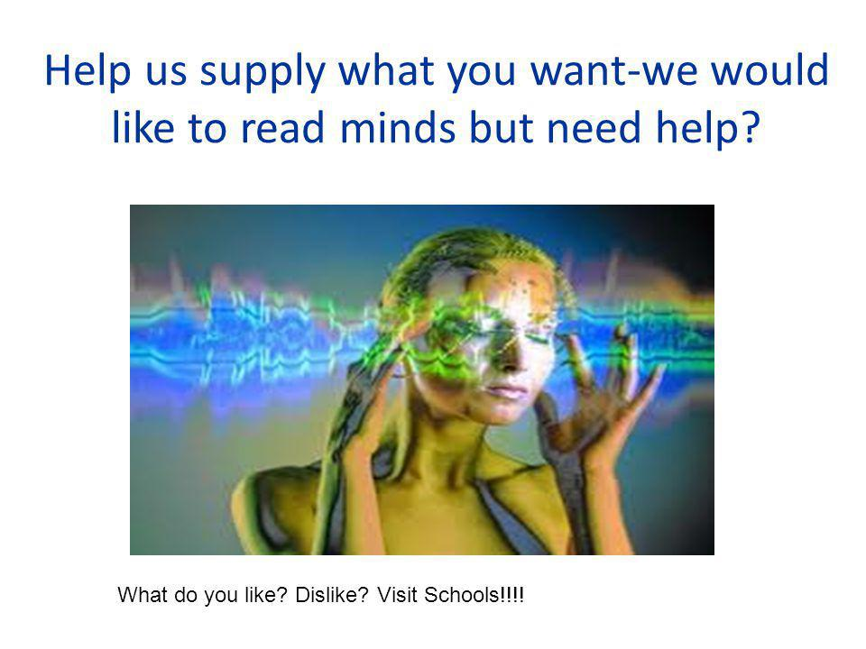 Help us supply what you want-we would like to read minds but need help.