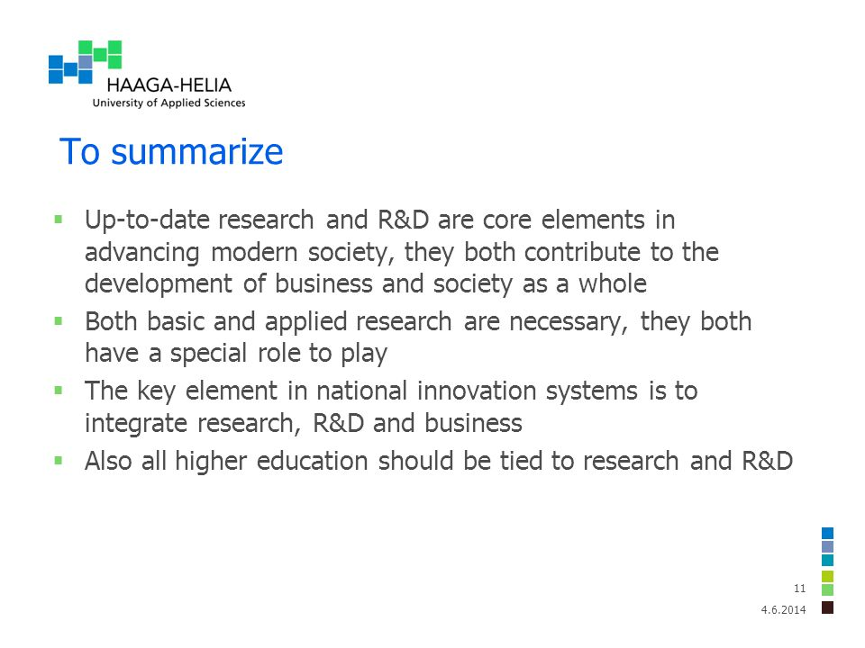 To summarize Up-to-date research and R&D are core elements in advancing modern society, they both contribute to the development of business and societ