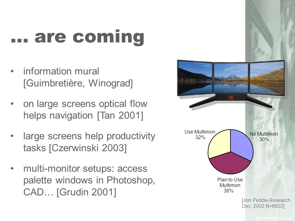 read more about it focus plus context screens: UIST 2001, CHI 2002 SIGGRAPH 2002 demo high-density cursor Interact 2003 drag-and-pop Interact 2003 city lights CHI 2003 halo CHI 2003, UIST 2003 demo
