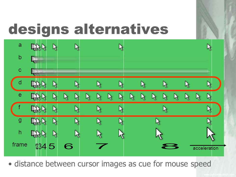 design goals for users who track the cursor enhance the predictability of the cursor path enhanced trail density/continuous blur smooth interpolation of the cursor path preservation of trail density as a cue for cursor speed.