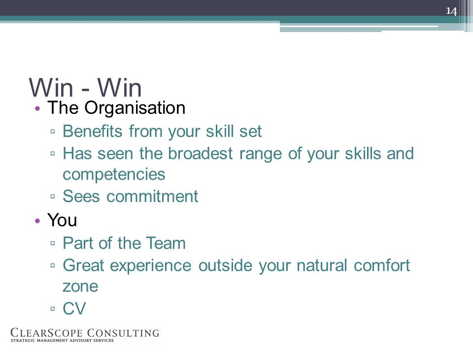 Win - Win The Organisation Benefits from your skill set Has seen the broadest range of your skills and competencies Sees commitment You Part of the Team Great experience outside your natural comfort zone CV 14