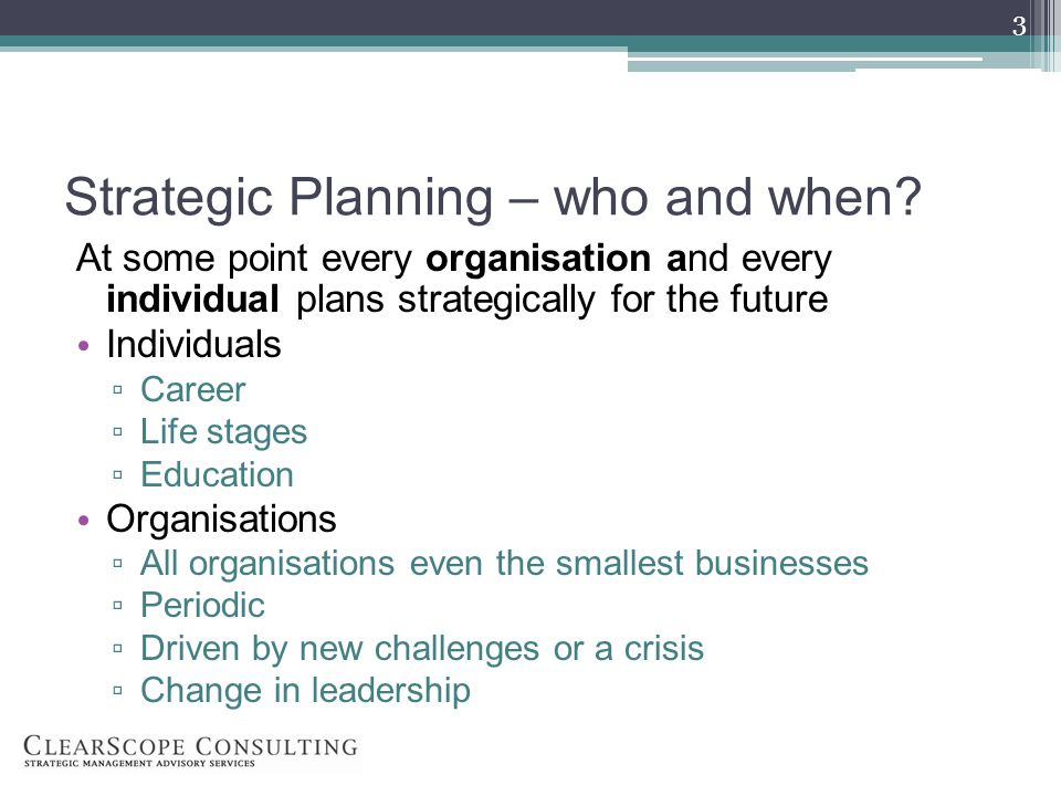 Strategic Planning – who and when.