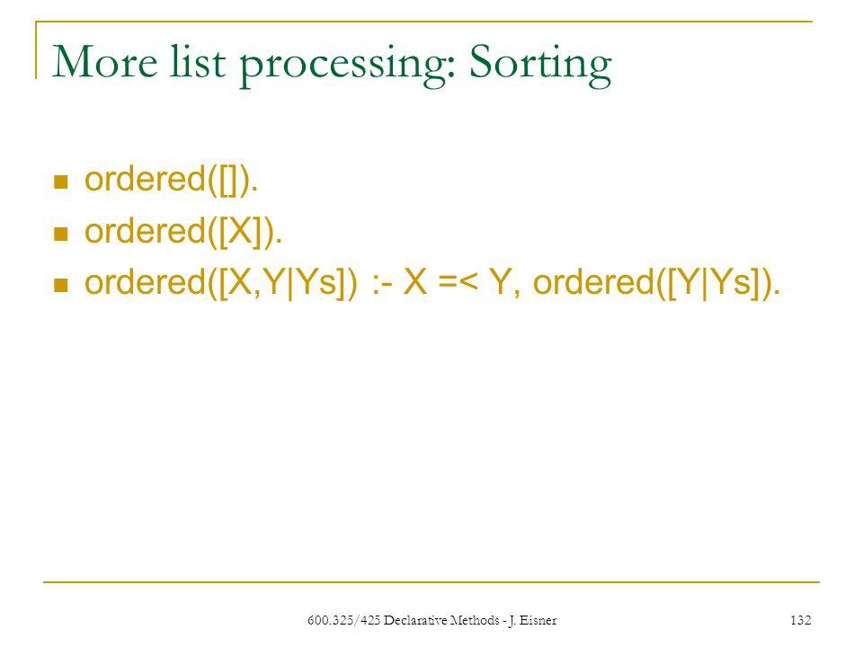 600.325/425 Declarative Methods - J. Eisner 132 More list processing: Sorting ordered([]).