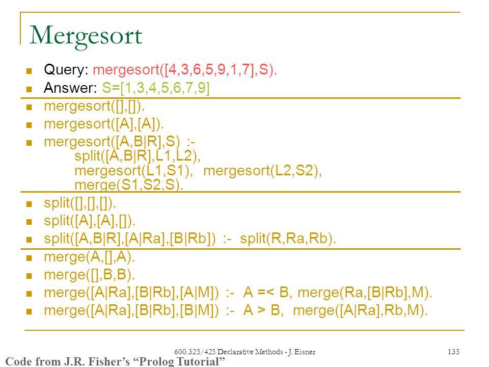 600.325/425 Declarative Methods - J. Eisner 135 Mergesort Query: mergesort([4,3,6,5,9,1,7],S).