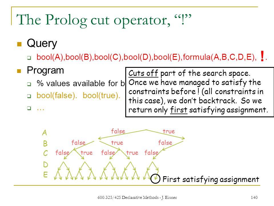 600.325/425 Declarative Methods - J. Eisner 140 The Prolog cut operator, .