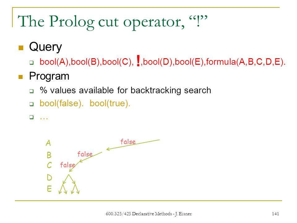 600.325/425 Declarative Methods - J. Eisner 141 The Prolog cut operator, .