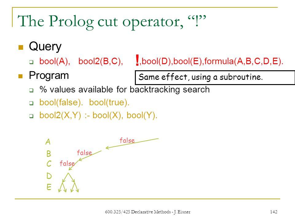 600.325/425 Declarative Methods - J. Eisner 142 The Prolog cut operator, .