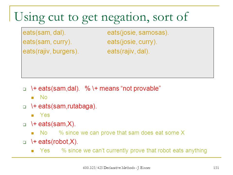 600.325/425 Declarative Methods - J. Eisner 151 eats(sam, dal).eats(josie, samosas).