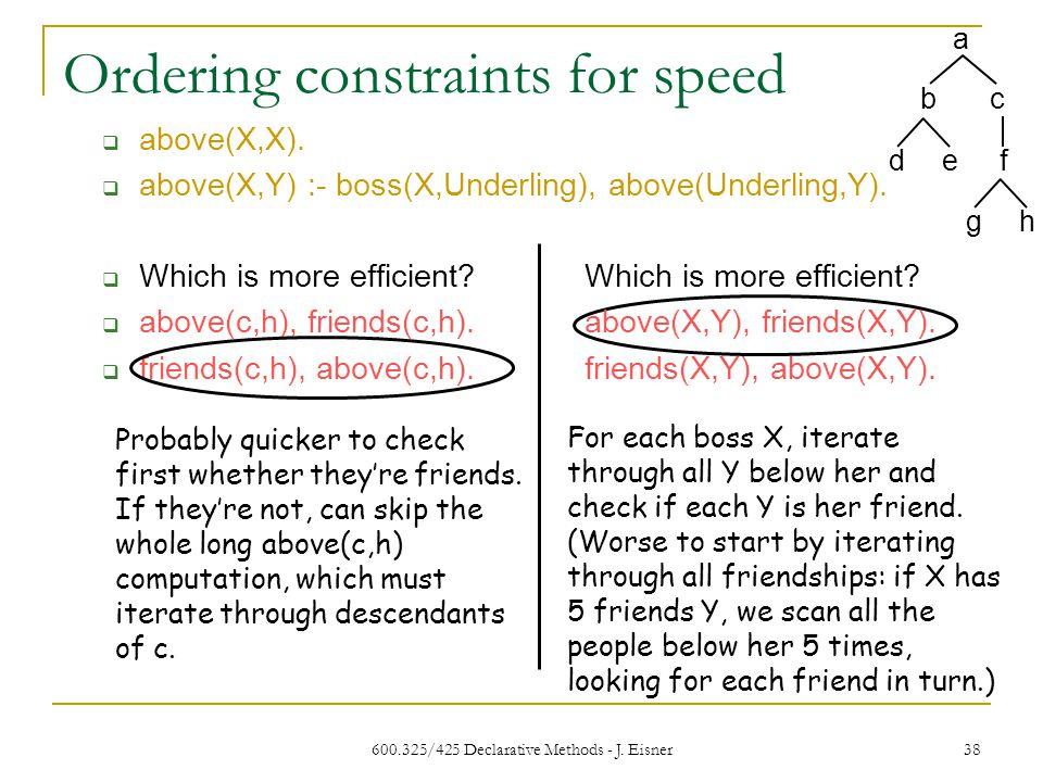 600.325/425 Declarative Methods - J. Eisner 38 Ordering constraints for speed above(X,X).