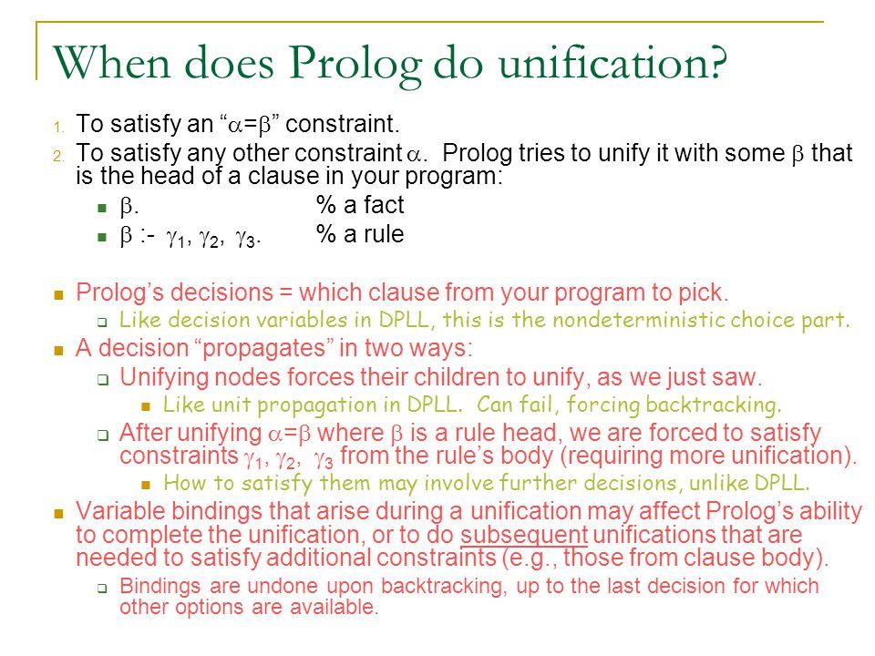 600.325/425 Declarative Methods - J. Eisner 68 When does Prolog do unification.