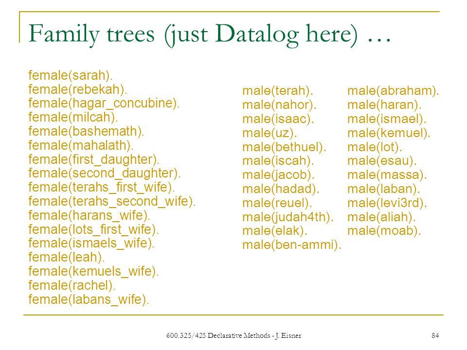 600.325/425 Declarative Methods - J. Eisner 84 Family trees (just Datalog here) … female(sarah).