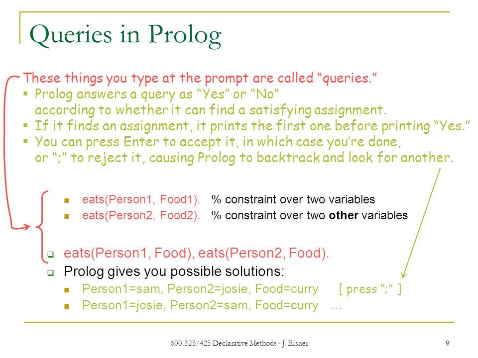 600.325/425 Declarative Methods - J. Eisner 9 Queries in Prolog eats(Person1, Food1).