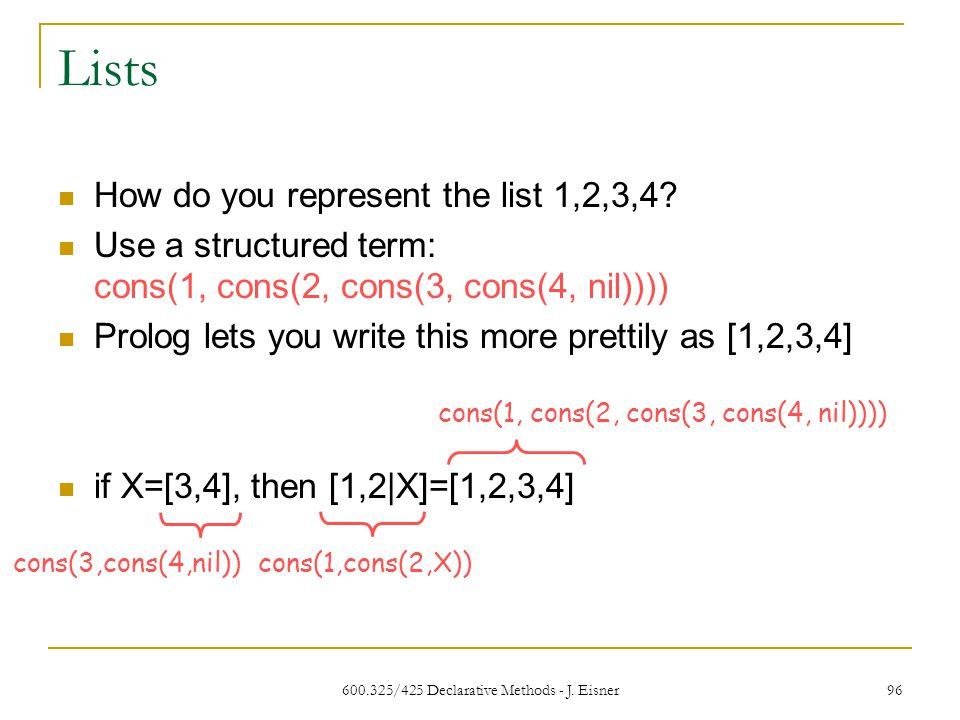 600.325/425 Declarative Methods - J. Eisner 96 Lists How do you represent the list 1,2,3,4.