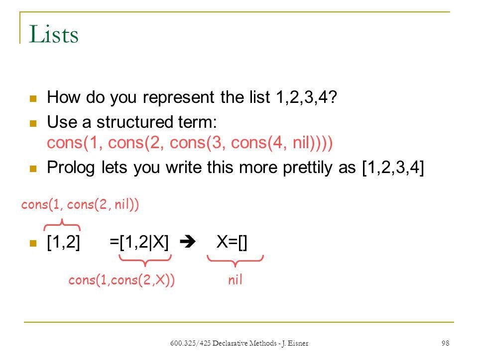600.325/425 Declarative Methods - J. Eisner 98 Lists How do you represent the list 1,2,3,4.