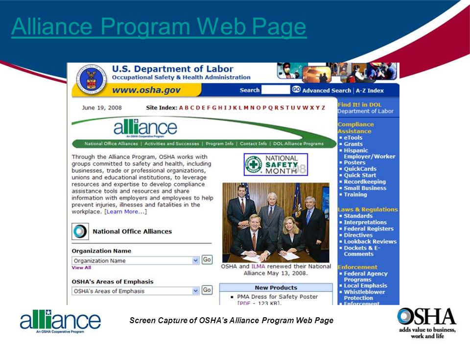 Alliance Program Web Page Screen Capture of OSHAs Alliance Program Web Page