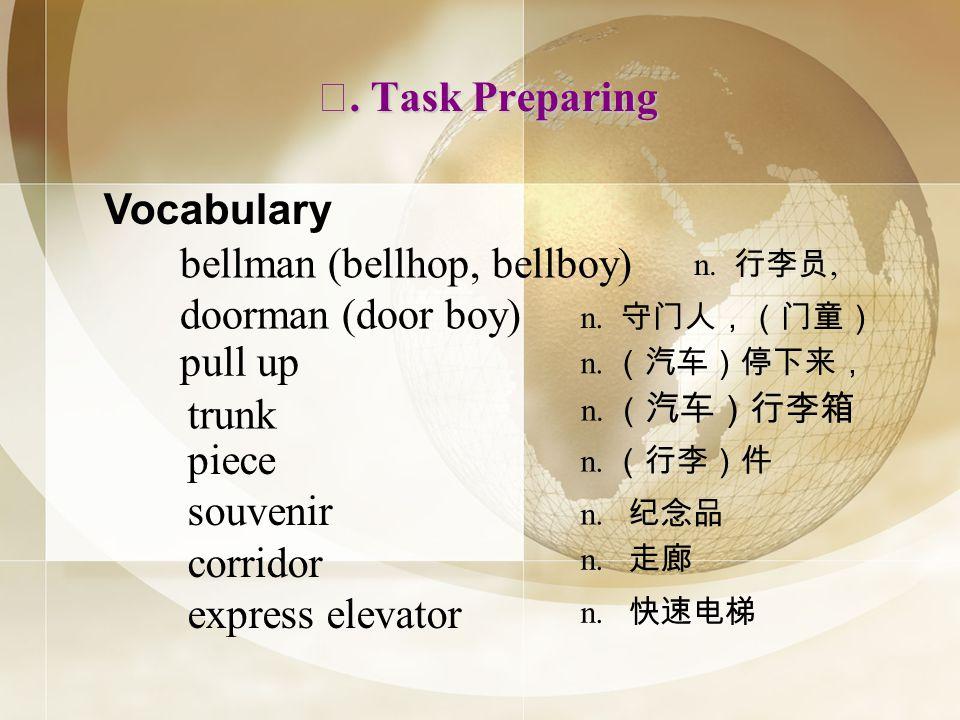 . Task Preparing. Task Preparing Vocabulary bellman (bellhop, bellboy) doorman (door boy) n., pull up n. trunk n. piece souvenir corridor express elev