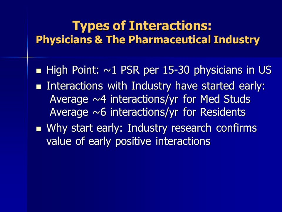 Types of Interactions: Physicians & The Pharmaceutical Industry Types of Interactions: Physicians & The Pharmaceutical Industry High Point: ~1 PSR per