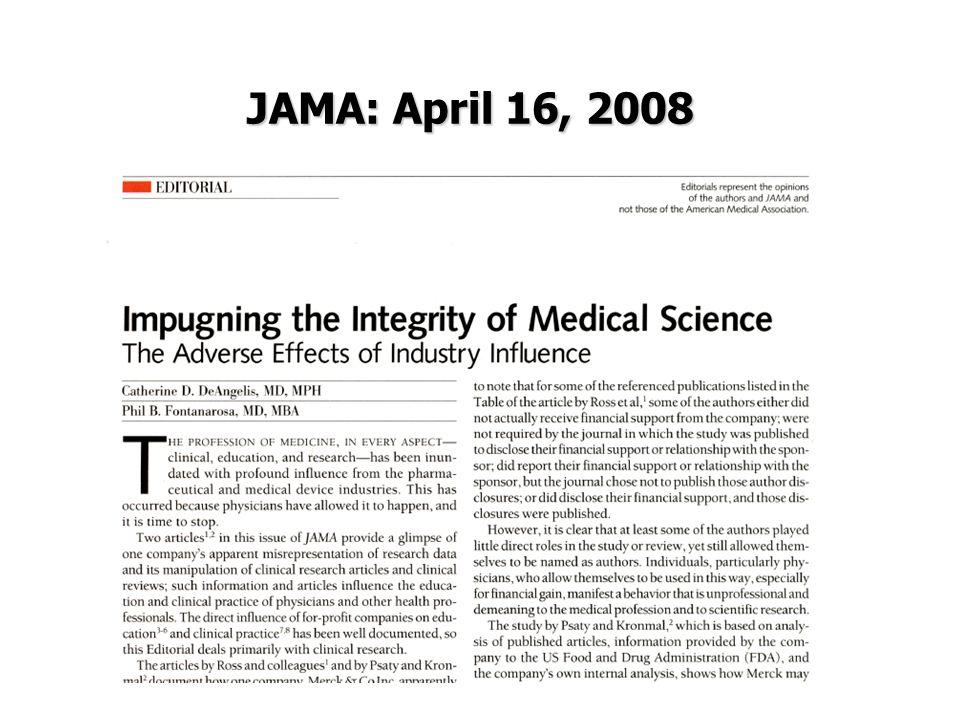 JAMA: April 16, 2008 JAMA: April 16, 2008