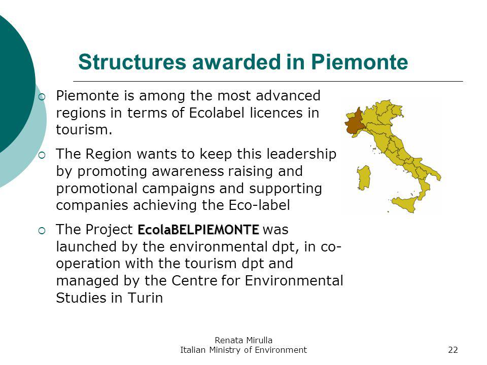 Renata Mirulla Italian Ministry of Environment22 Structures awarded in Piemonte Piemonte is among the most advanced regions in terms of Ecolabel licences in tourism.