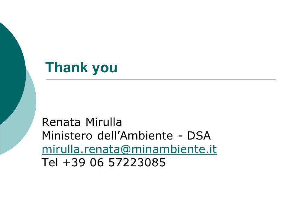 Thank you Renata Mirulla Ministero dellAmbiente - DSA mirulla.renata@minambiente.it Tel +39 06 57223085