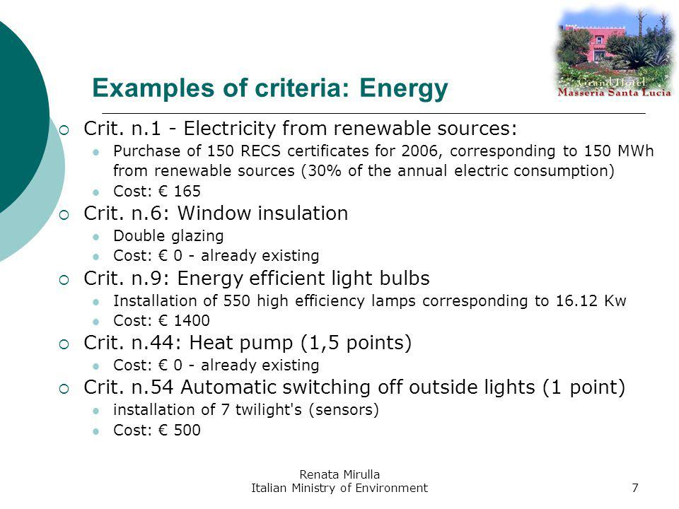 Renata Mirulla Italian Ministry of Environment8 Examples of criteria: Water Crit.