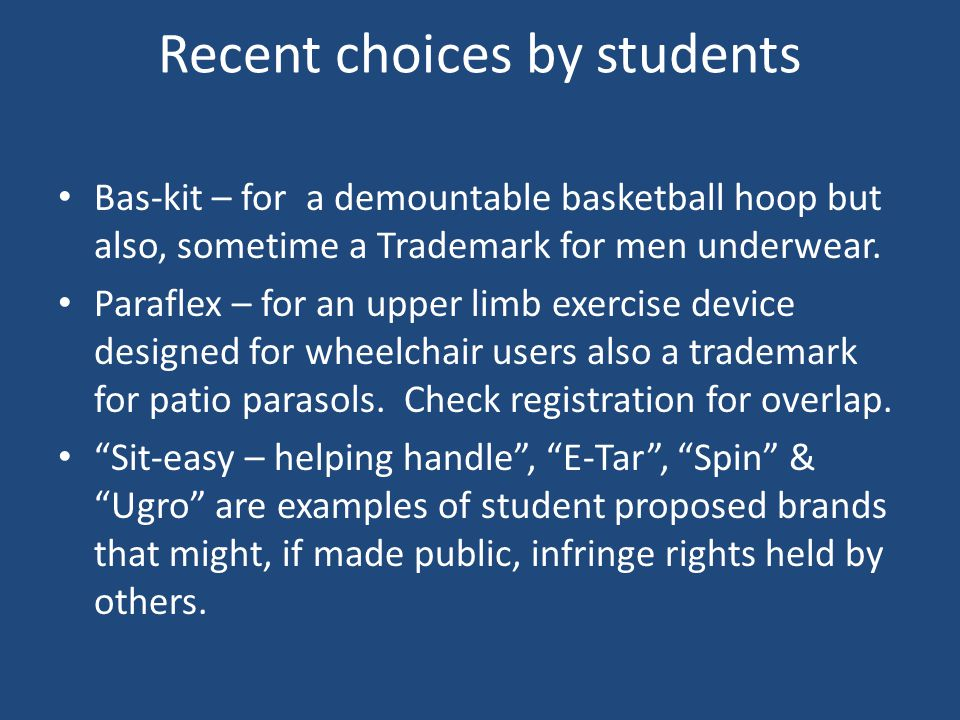 Recent choices by students Bas-kit – for a demountable basketball hoop but also, sometime a Trademark for men underwear.