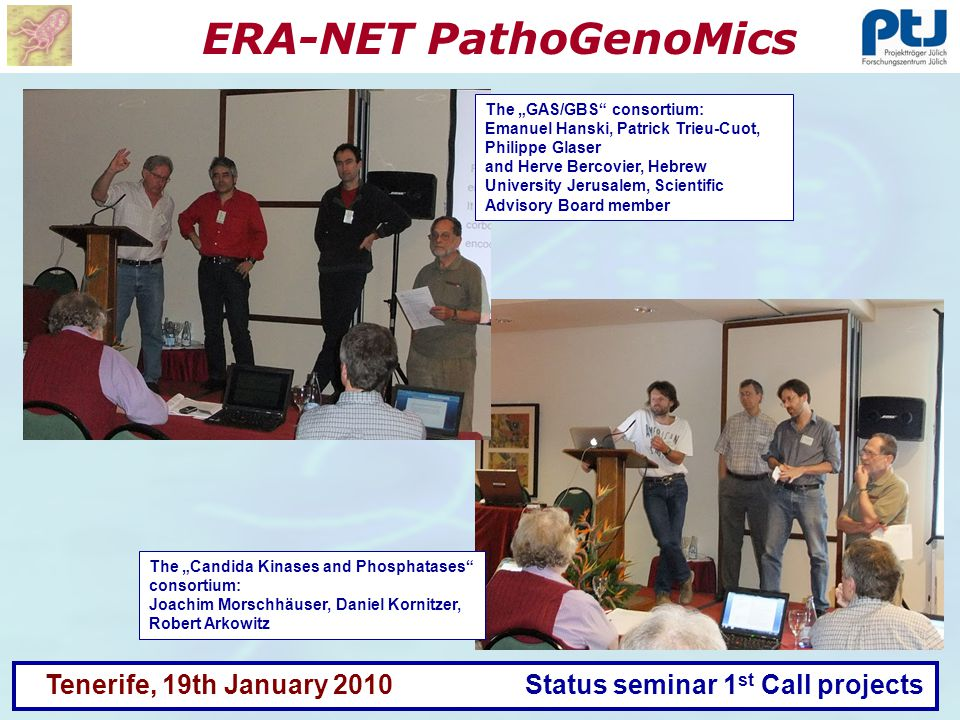 ERA-NET PathoGenoMics Tenerife, 19th January 2010 Status seminar 1 st Call projects The Candida Kinases and Phosphatases consortium: Joachim Morschhäu
