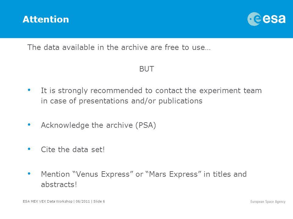 ESA MEX VEX Data Workshop   06/2011   Slide 17 Science Payload