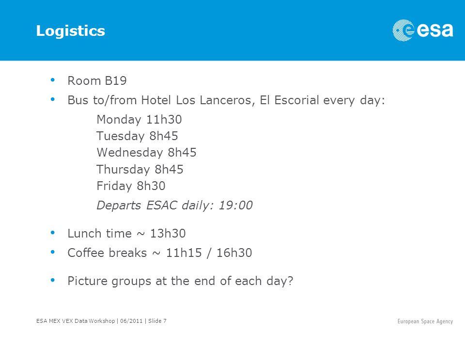 ESA MEX VEX Data Workshop   06/2011   Slide 8 Logistics Dinners: Tuesday: 20:00 Fonda Genara, El Escorial Thursday: 20:00 Restaurant La Cueva, El Escorial Friday: 13:30-16:30 visit of the ESA ground-station in Cebreros.