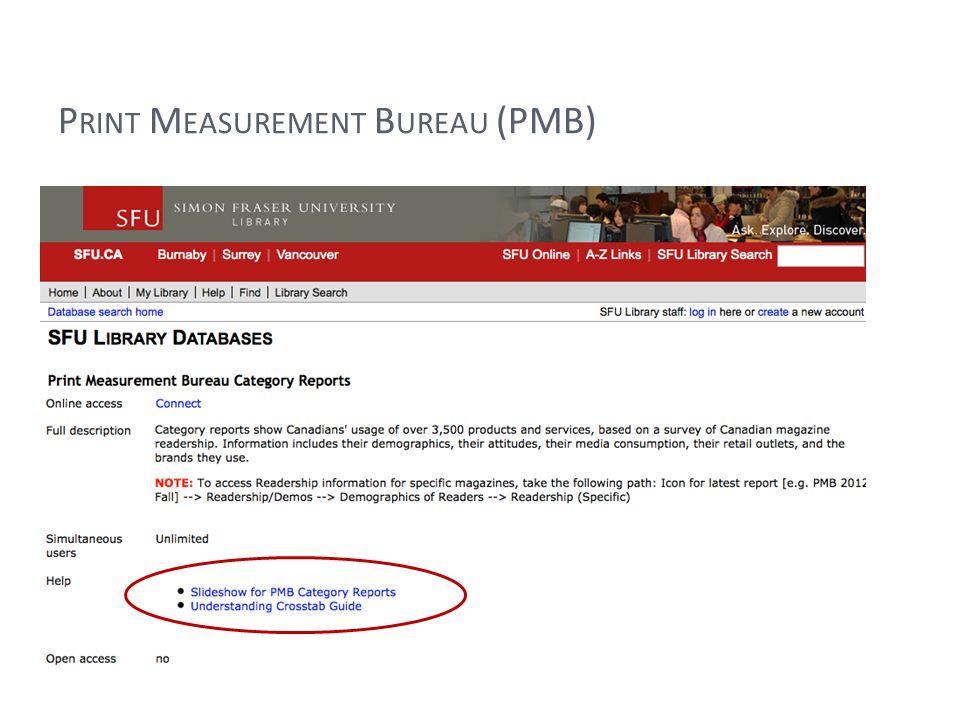 P RINT M EASUREMENT B UREAU (PMB)