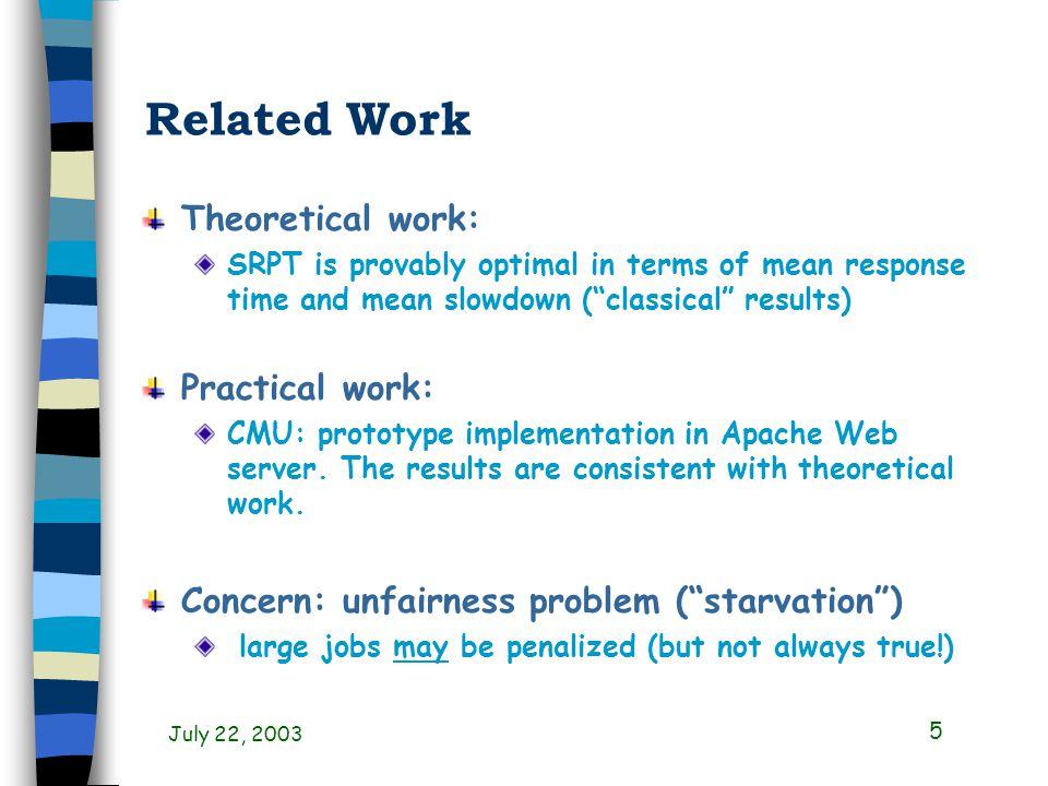 July 22, 2003 26 Observations for SRPT Endogenous unfairness dominant