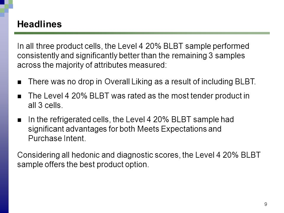 9 Headlines In all three product cells, the Level 4 20% BLBT sample performed consistently and significantly better than the remaining 3 samples acros