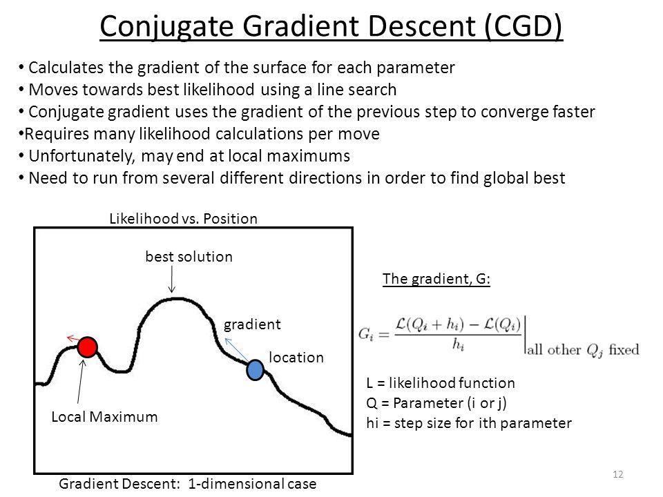 Conjugate Gradient Descent (CGD) 12 Calculates the gradient of the surface for each parameter Moves towards best likelihood using a line search Conjug