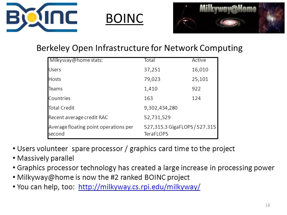 18 BOINC Berkeley Open Infrastructure for Network Computing Milkyway@home stats:TotalActive Users37,25116,010 Hosts79,02325,101 Teams1,410922 Countries163124 Total Credit9,302,434,280 Recent average credit RAC52,731,529 Average floating point operations per second 527,315.3 GigaFLOPS / 527.315 TeraFLOPS Users volunteer spare processor / graphics card time to the project Massively parallel Graphics processor technology has created a large increase in processing power Milkyway@home is now the #2 ranked BOINC project You can help, too: http://milkyway.cs.rpi.edu/milkyway/http://milkyway.cs.rpi.edu/milkyway/
