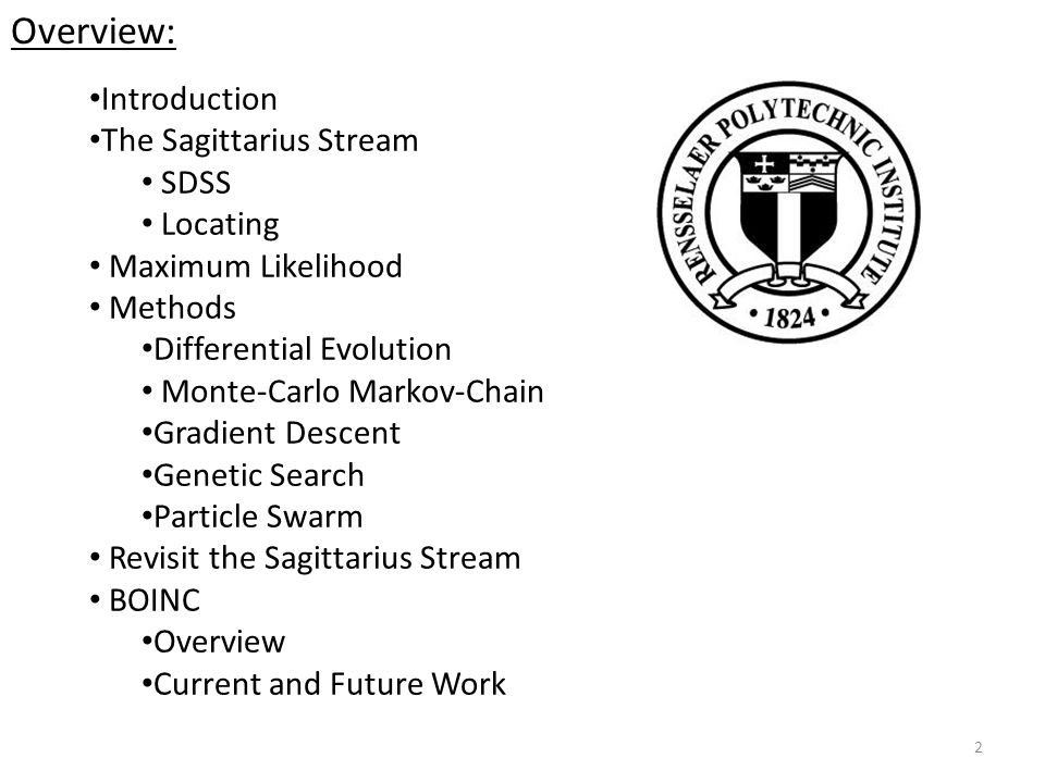 2 Introduction The Sagittarius Stream SDSS Locating Maximum Likelihood Methods Differential Evolution Monte-Carlo Markov-Chain Gradient Descent Genetic Search Particle Swarm Revisit the Sagittarius Stream BOINC Overview Current and Future Work Overview: