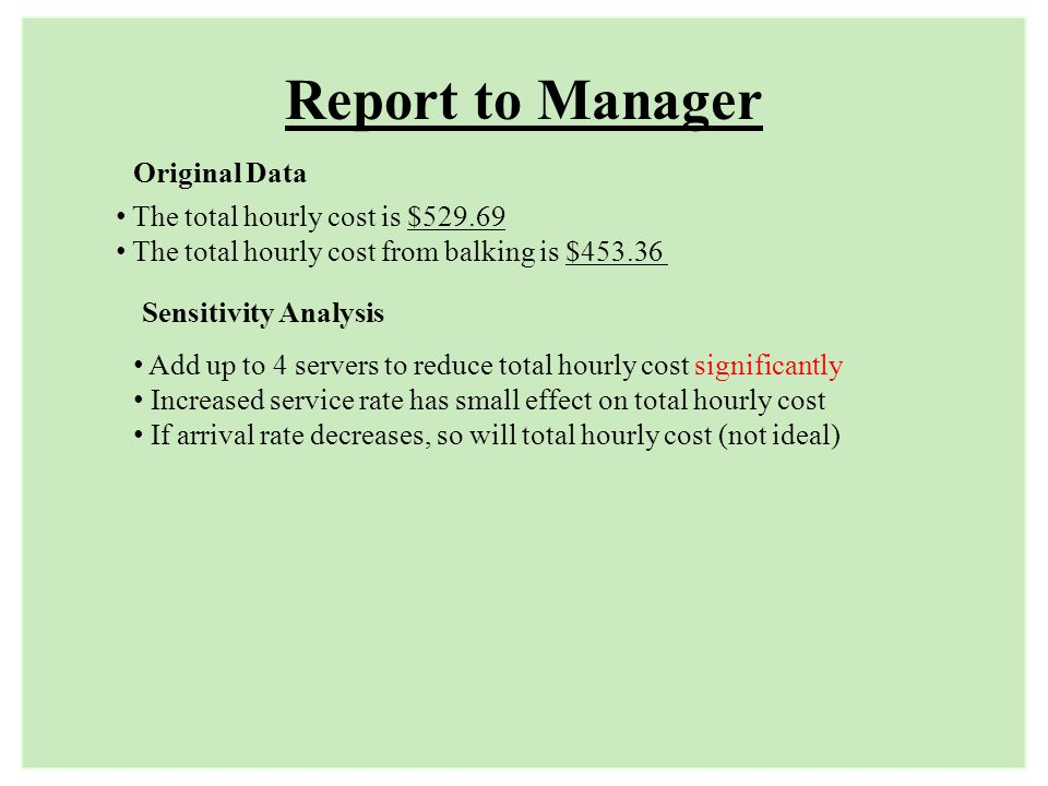 Report to Manager The total hourly cost is $529.69 The total hourly cost from balking is $453.36 Original Data Sensitivity Analysis Add up to 4 server