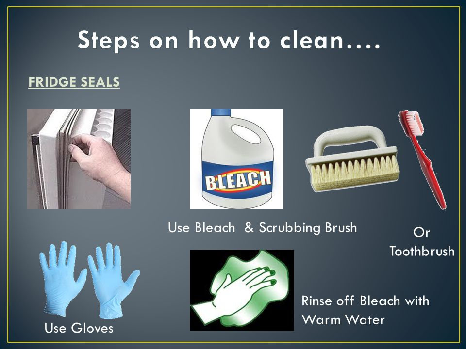 FRIDGE SEALS Use Bleach & Scrubbing Brush Or Toothbrush Use Gloves Rinse off Bleach with Warm Water